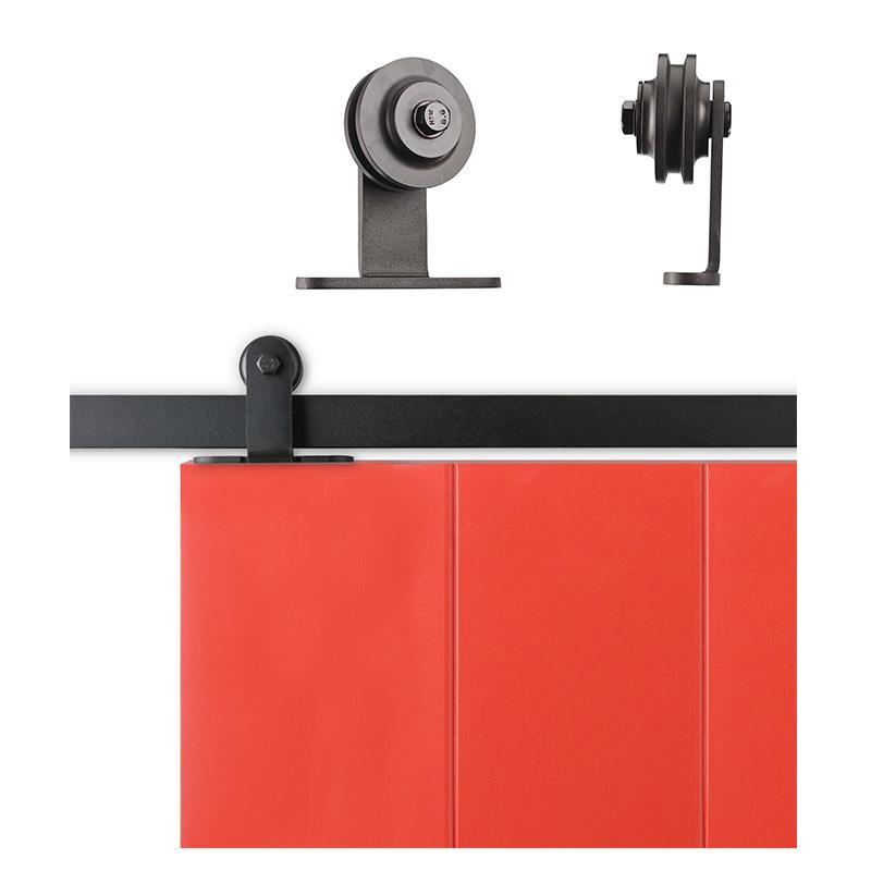 sliding cabinet barn door hardware kit top mount roller 6 6 feet steel track ebay. Black Bedroom Furniture Sets. Home Design Ideas